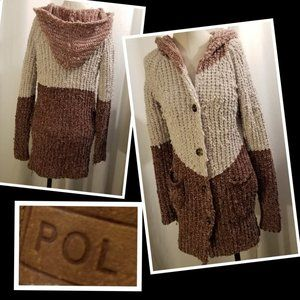 Pol Hooded Stripped Long Cardigan Sweater S